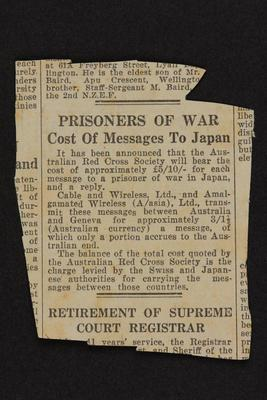 Clipping: Prisoners of War, Cost of Messages to Japan