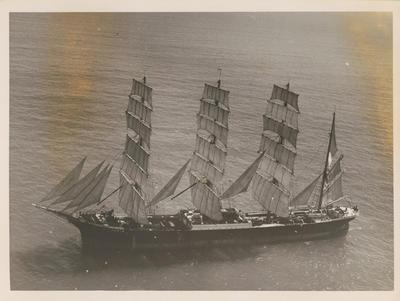 Photograph: Aerial view of barque PAMIR (1905) at sea