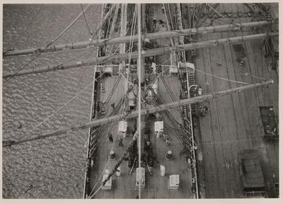 Photograph: Barque PAMIR (1905) at wharf, view of mid deck