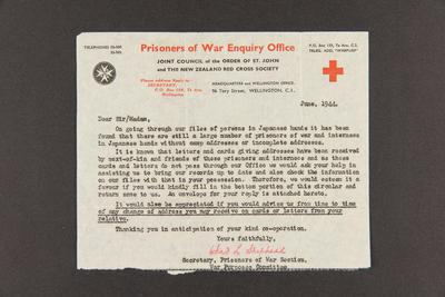 Letter: From The Prisoners of War Enquiry Office, Wellington to Dear Sir/Madam, Jun 1944