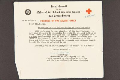 Letter: From Prisoners of War Enquiry Office to Mrs. W Grey, 4 Feb 1945