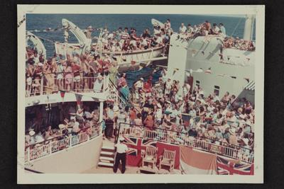 Photograph: Crossing the line ceremony, arrival of Neptune