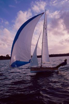 Slide: DIRTY RASCALS sailed by Adrian Hayman and Lindsay Kennedy in the NZ 14s on Auckland Harbour, 1989