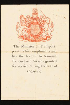 Certificate: from British Minister of Transport accompanying war medals awarded to George M Parsons