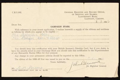 Certificate: from British Registrar General of Shipping and Seamen accompanying war medal ribbons awarded to George M Parsons