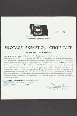 Archive: Pilotage exemption certificate issued to Captain Richard Bateman Speary