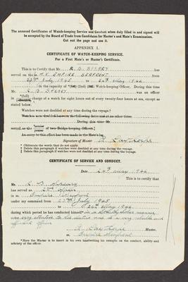 Archive: Certificate of watch-keeping service and conduct, issued to Captain Richard Bateman Speary