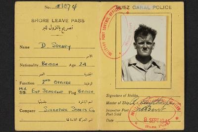 Archive: Shore leave pass, Suez Canal, issued to Captain Richard Bateman Speary