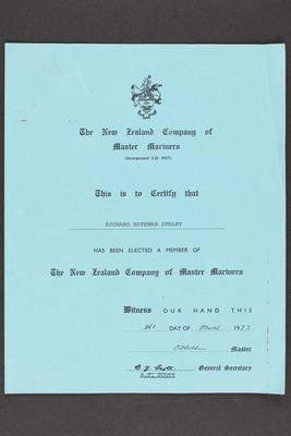 Archive: New Zealand Company of Master Mariners Certificate issued to Captain Richard Bateman Speary