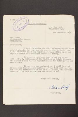Letter: From Marine Department to Mrs. Grey, 2 Dec 1942