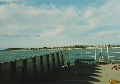 Photograph: Yacht being transported, view of stern