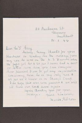Letter: From Marion Gibson to Mrs. Grey, 31 Jan 1944