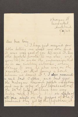 Letter: From [N] Graham to Mrs. Grey, 5 Feb 1944