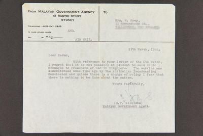Telegram: From Malayan Government Agency to Mrs. W. Grey, 27 Mar 1944