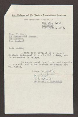 Letter: From The Malayan and Far Eastern Association of Australia to Mrs. W. Grey, 21 Apr 1944