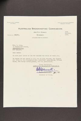 Letter: From The Australian Broadcasting Commission, Sydney, to Mrs. W. Grey, 13 Oct 1944