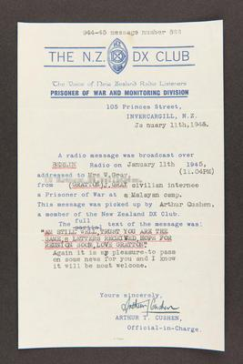 Letter: From Arthur T. Cushen, the N.Z. DX Club, Prisoner of War Monitoring Division to Mrs. W. Grey, 11 Jan 1945