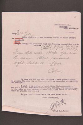 Letter: From (Mr.) E. A. Wintle to Mrs. Grey, 11 Jan 1945