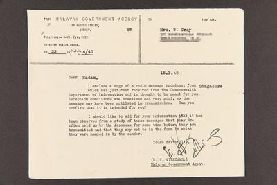 Telegram: From the Malayan Government Agency, Sydney, Australia to Mrs. W. Grey, 15 Jan 1945