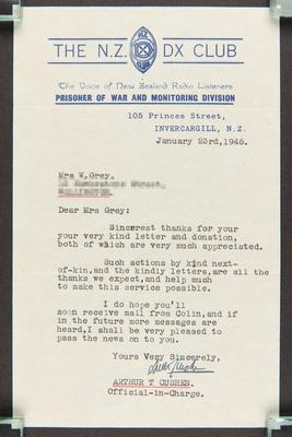 Letter: From Arthur T Cushen, the N.Z. DX Club, Prisoner of War Monitoring Division to Mrs. W. Grey, 23 Jan 1945