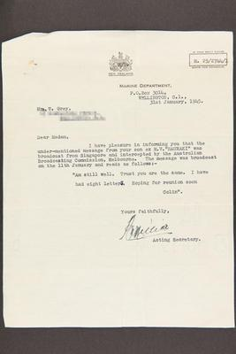 Letter: From Marine Department to Mrs. Grey, 31 Jan 1945