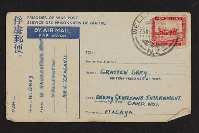 Message: From W. Grey to [Gratten] Gratton Grey, Prisoner of War Post, Service Des Prisonniers de Guerre, 23 May 1945
