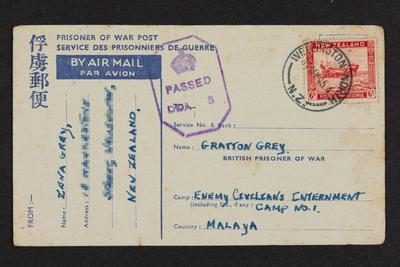Message: From Zena Grey to Gratton Grey, Prisoner of War Post,  Service Des Prisonniers de Guerre, 28 May 1945