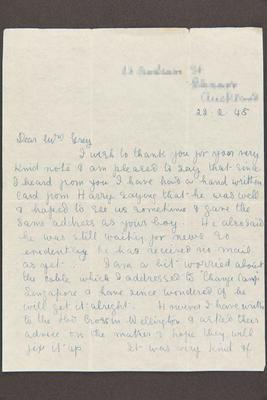 Letter: From Marion Gibson to Mrs. Grey, 22 Feb 1945