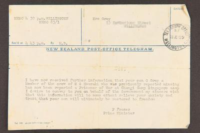 Memorandum: From Peter Fraser, Prime Minster to Mrs. Grey, 23 Dec 1943