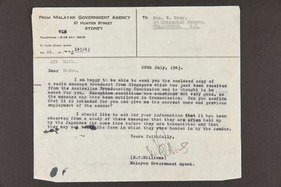 Message: From Malayan Government Agency, Sydney, Australia to Mrs. W. Grey, 20 Jul 1943