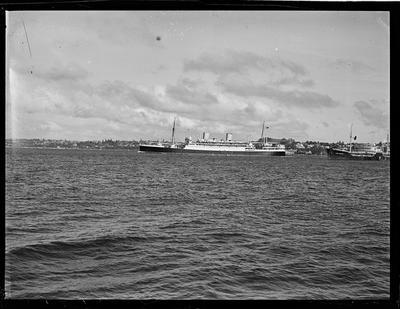 Glass Plate: Passenger vessel ship and  working vessel on Waitematā harbour