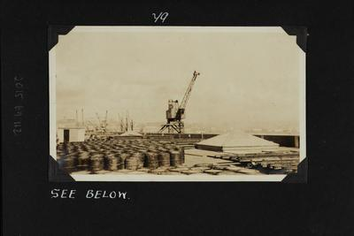 Photograph: Barrels of whale oil on the roof of Shed 24, Princes Wharf