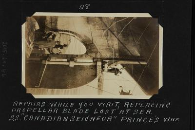 Photograph: Propeller repairs, SS CANADIAN SEIGNEUR (1919)