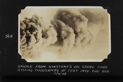 Photograph: Smoke from Winstone's oil store fire