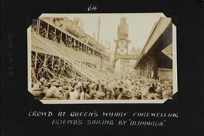 Photograph: Farewell for SS ULIMAROA, Queens Wharf