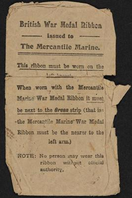 Archive: Envelope for British War Medal ribbon issued to George William Sutton