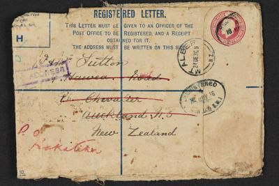 Archive: Registered post envelope which contained war medals issued to George William Sutton