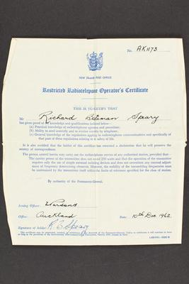 Archive: Restricted radiotelephone operator's certificate issued to Captain Richard Bateman Speary
