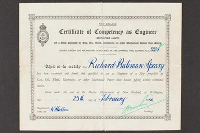 Archive: Certificate of competency as engineer issued to Captain Richard Bateman Speary