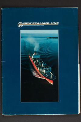 Folder: New Zealand Line (The Shipping Corporation of New Zealand Limited) company resume, containing information sheets about the company and fleet, includes map, envelope, compliment slip, postcard written by Phillippa [Pip] Were and newspaper clipping