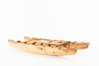 Model: double hulled canoe with a fishing pole from Tokelau