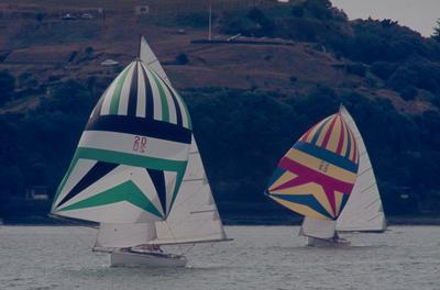 Slide: KARROS and unidentified L-Class Mullet Boat competing in the 1977 Lipton Cup race
