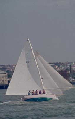 Slide: L-Class Mullet Boat L-50 competing in the 1977 Lipton Cup race