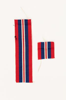 Medal ribbon: for The British War Medal 1939-1945 awarded to to George Davis