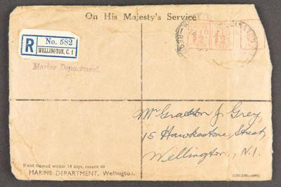 Envelope: originally containing service and campaign medals awarded to Gratton J.  (Colin) Grey, WWII