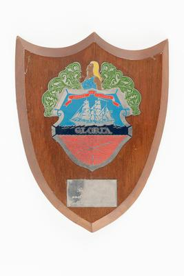 Ship's crest on wooden shield from Colombian naval vessel GLORIA