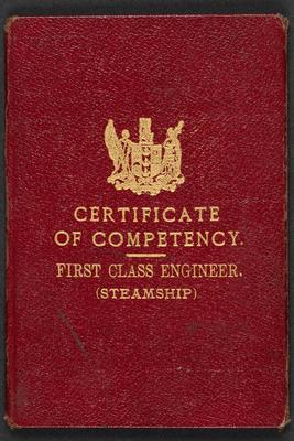 Archive: Certificate of competency first class engineer (steamship) 11 Mar 1931