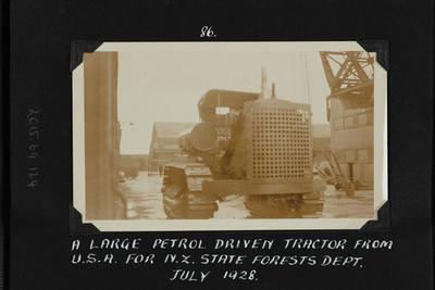 Photograph: Recently imported tractor on wharf