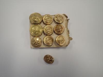 Buttons: Merchant Navy, ten on card