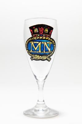Glass: Wine glass with a Merchant Navy badge